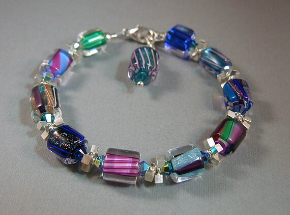 Jeweltones, Blues, Purples, Furnace Glass, Cane glass, Art Glass Bali Silver and Crystal Glass Bead Bracelet