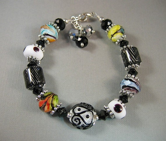 Black Striped and Black and White Lampwork Bracelet with Crystals