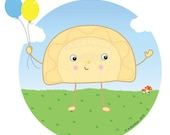 Perogy (Varenyk) Holding Balloons Card - Illustrated by A.Bamber