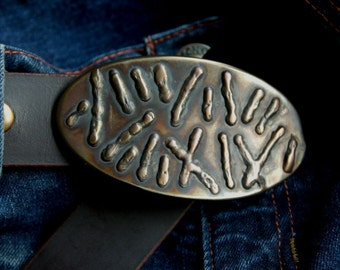 "Oval Bronze Belt Buckle Original Design Stainless Steel Blue Jean Buckle Fits 1.5"" Oiled Buffalo Leather Belt w/ Snaps to Exchange Buckles"