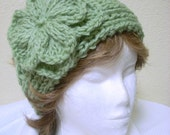 Sage Green Hand Knit Ladies Headband with Flower