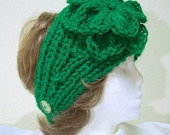 Bright Kelly Green Ladies Knit Headband