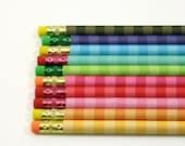 Pencil Set of 10.  Rainbow Stripe Custom Pencils