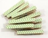 Clothespins.  Set of Ten. Lime Green Chevron.