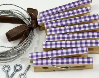 Clothesline Kit. Purple Gingham Clothespins and Hanging Wire