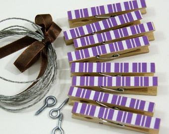Clothesline Kit. Purple Stripe Clothespins and Hanging Wire