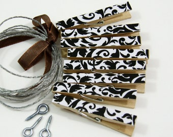 Clothesline Kit. Black Damask Clothespins and Hanging Wire
