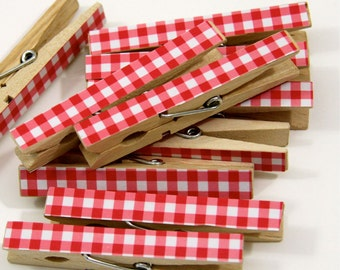 Clothespins.  Set of Ten.  Red Gingham