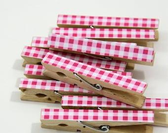Clothespins.  Set of Ten.Gingham. Hot Pink.