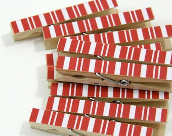 Clothespins.  Set of Ten. Crimson Red Stripe