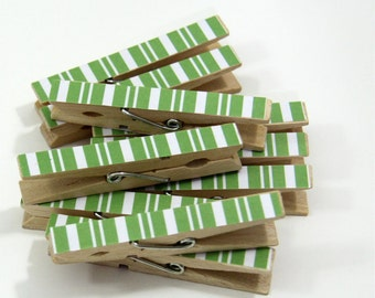Clothespins.  Set of Ten. Green Stripe