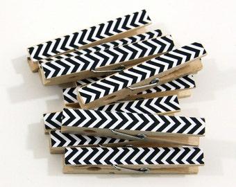 Clothespins.  Set of Ten. Black and White Chevron.