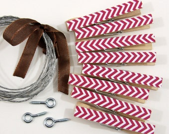 Clothesline Kit. Hot Pink Chevron Clothespins and Hanging Wire