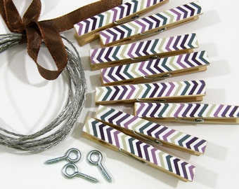 Clothesline Kit. Purple Chevron Mix Clothespins and Hanging Wire