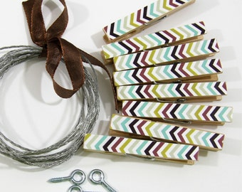 Clothesline Kit. Indian Summer Chevron Mix Clothespins and Hanging Wire