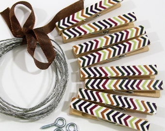 Clothesline Kit. Fall Chevron Mix Clothespins and Hanging Wire