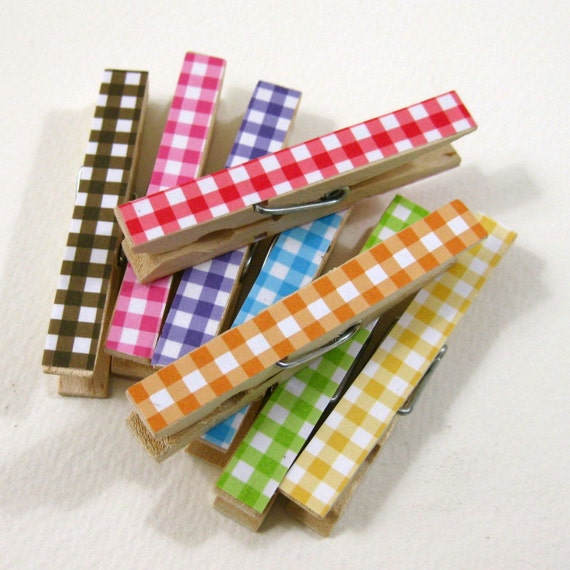 Featured in Southern Living.  Clothespins.  Set of Ten.  Rainbow Gingham