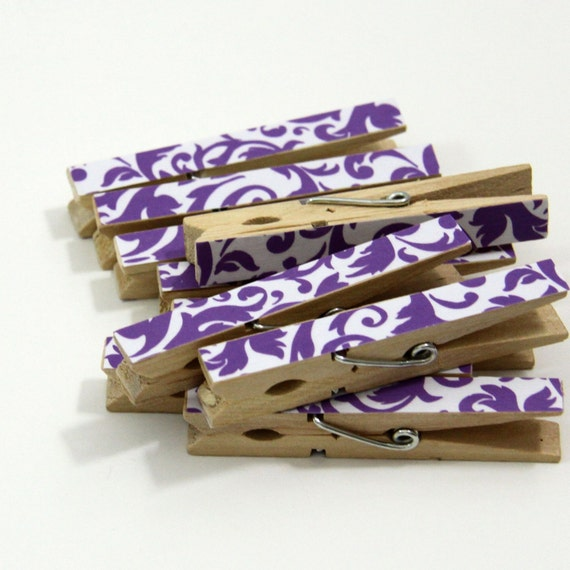 Clothespins.  Set of Ten. Purple Damask Print.
