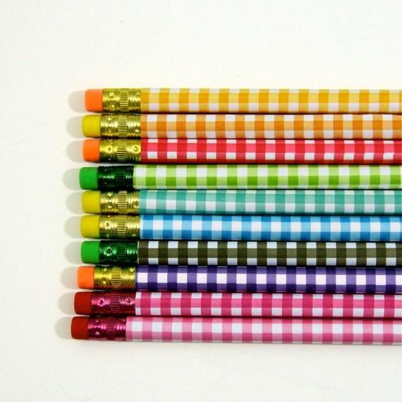 Pencil Set of 10.  Rainbow Gingham Print Pencils