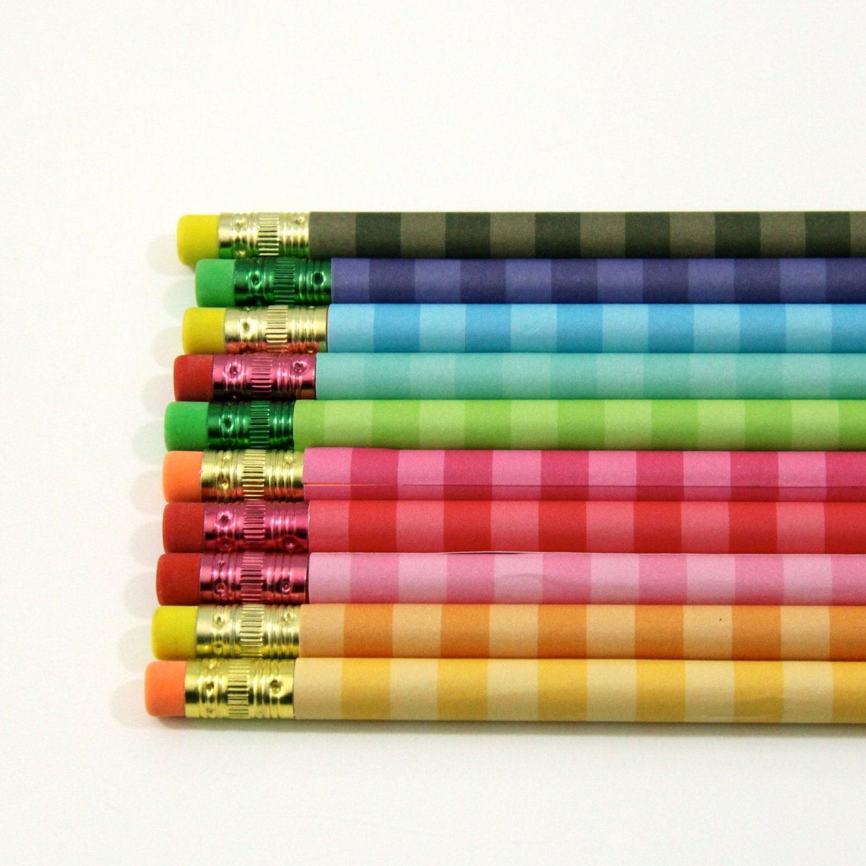 Pencil Set Of 10 Rainbow Stripe Custom Pencils