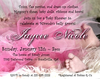 tutu baby shower invitation for girl