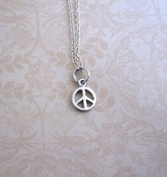 Peace Sign Charm Sterling Silver Tiny Small Mini Little Itty Bitty Chain Not Included