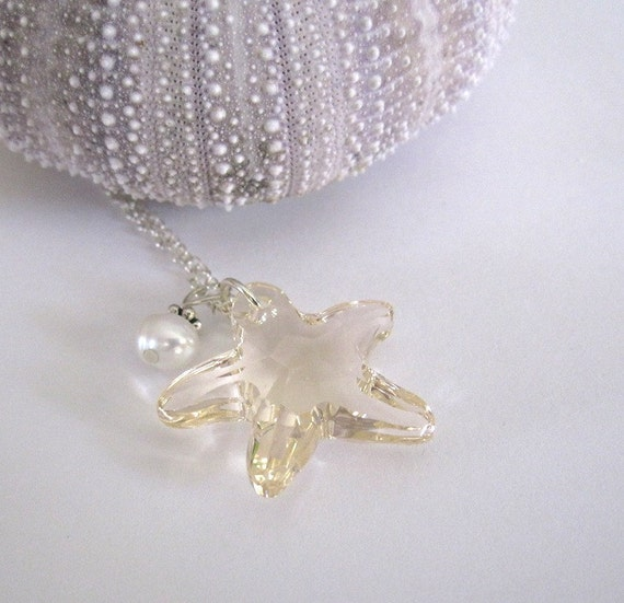 Swarovski Crystal Starfish Necklace Sterling Silver Silk Pale Golden Charm Freshwater Pearl