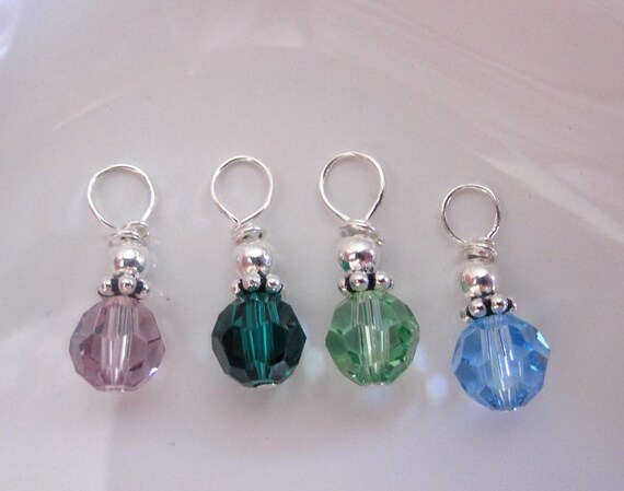 Swarovski Crystal Birthstone ONE Round 6mm Sterling Silver Charm Dangle