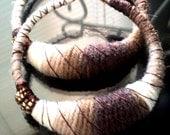 Chocolate Swirl yarn earrings XLG