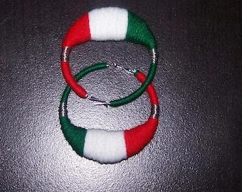 Green White Red Flag yarn earrings LG