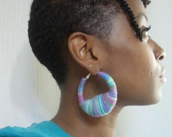 Pastel Rainbow yarn earrings MD/LG