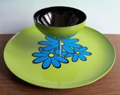 RESERVED Retro Mod Flower Blue and Avocado Green Chip and Dip Plate