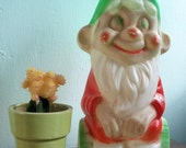 RESERVED--Vintage Plastic  Christmas Gnome Light Number 2