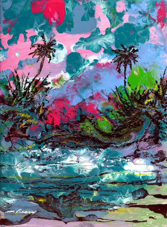 Items Similar To Amazing Abstract Tropical Landscape