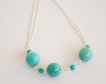 Turquoise and chain statement necklace, December birthstone necklace, Turquoise necklace,