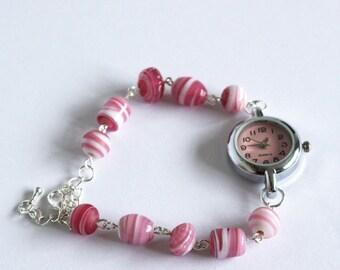SALE: OOAK beaded watch bracelet, pink candy stripe watch, pink bracelet, pink beaded watch,