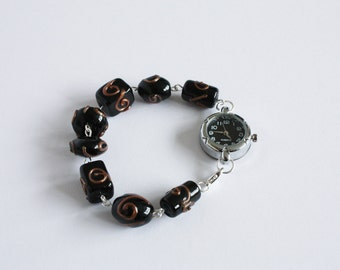 SALE: Black and bronze beaded bracelet watch
