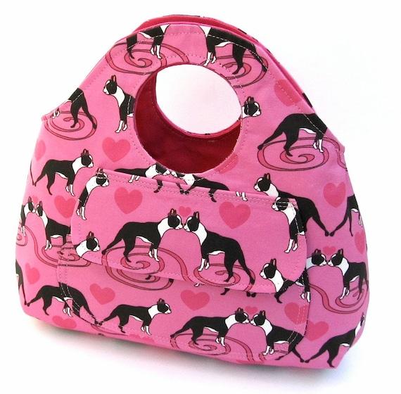 Pink Kissing Boston Terrier Bracelet Bag