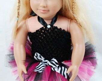 """2-Piece Hot Pink Zebra Tutu Outfit for 18"""" and 15"""" Dolls - Fits American Girl Dolls and My Generation Dolls"""