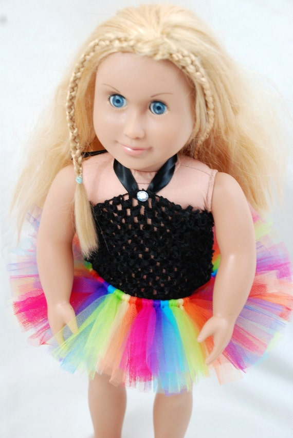 """2-Piece Rainbow Tutu Outfit for 18"""" and 15"""" Dolls - Fits American Girl Dolls and My Generation Dolls"""