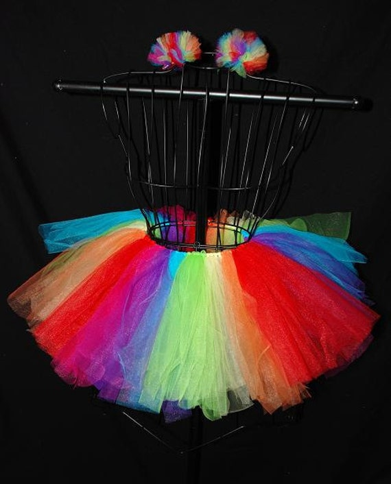 Rainbow Explosion Tutu and Matching Puff Hair Clip Set - Custom Fitted for Children and Babies