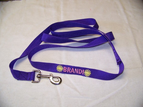 Personalized Embroidered  6' Dog Leash