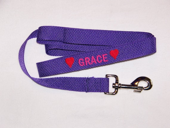 Custom made Dog Leash, Personalized Embroidered  6' Dog Leash, Dog leash with name, Personalized Dog Leash
