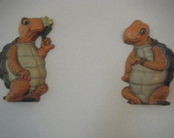 """Pair of  Turtles, """"Tortoise and the Hare"""" Resin Wall Decor"""
