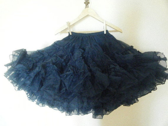 Navy Blue Handmade Square Dance Skirt With Custom Pearl Button Bag