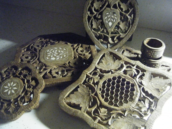5 Hand Carved Wood India Inlay Trivets and Napkin Rings