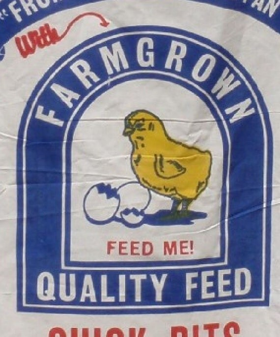 chick feedsack feed sack grain sack fabric panel vintage antique design