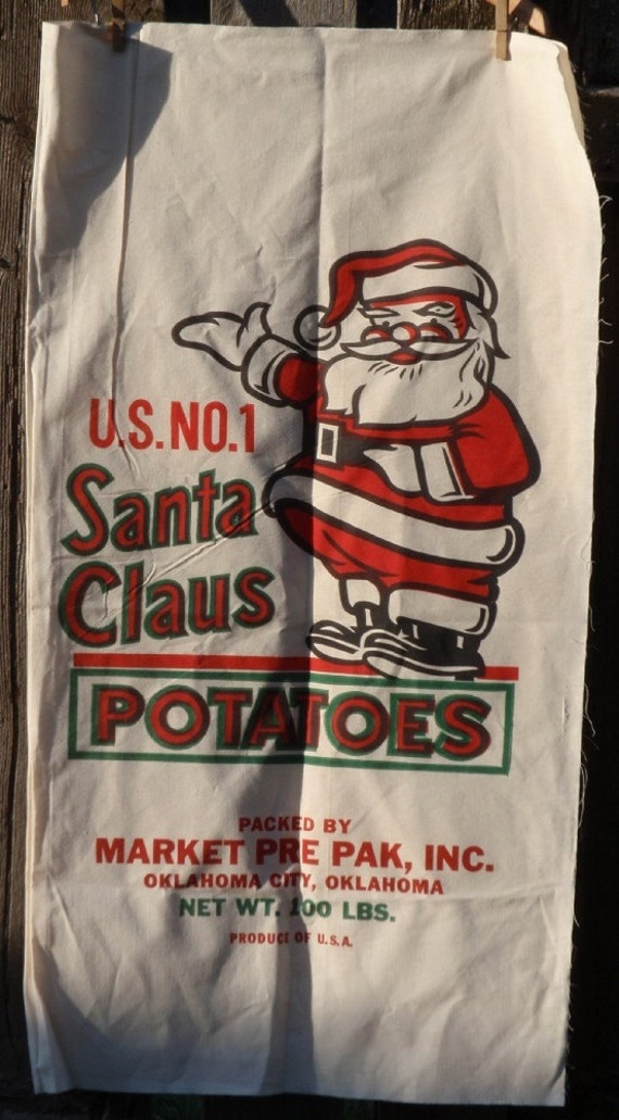 Santa Claus Christmas feedsack feed sack fabric panel vintage antique design