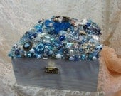 JEWELRY Box Blue Sealife Vintage jewelry ART PIECE