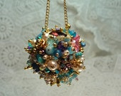 Ornament Turquoise Magenta   Art Piece OOAK Vintage Jewelry Assemblage